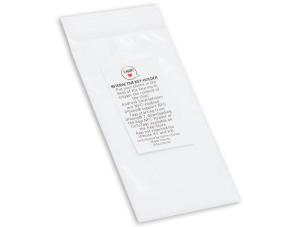 Sacchettino in plastica con etichetta adesiva personalizzata30 x 52 mm, indicato per i portachiavi con chip