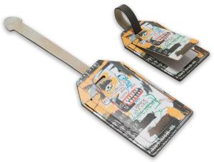 Etichetta per valigia in pelle stampata in digitale sui due lati