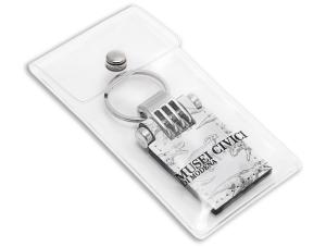 Busta in PVC trasparente con bottone,stampa serigrafica ad un colore